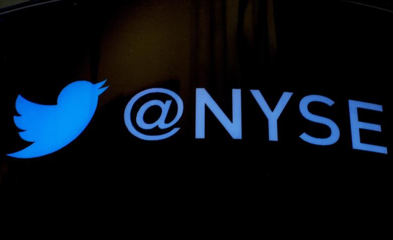 The Twitter logo is displayed ahead of the company's IPO on the floor of the New York Stock Exchange, November 6, 2013. REUTERS/Brendan McDermid