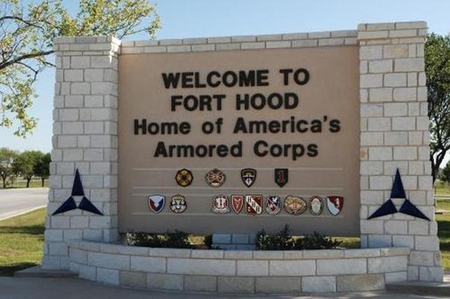The main gate at the U.S. Army post at Fort Hood, Texas is pictured in this undated photograph, obtained on November 5, 2009. REUTERS/III Corps Public Affairs/U.S. Army/Handout