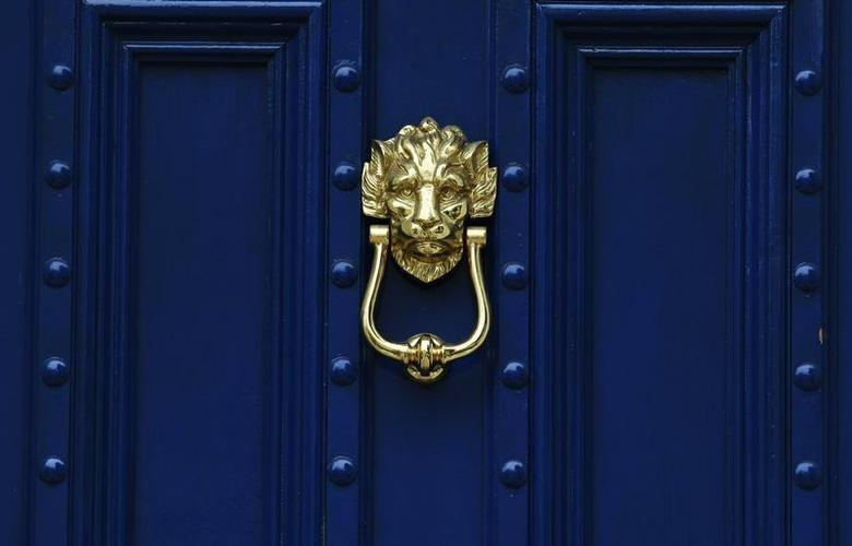 A brass door knocker is pictured on a blue door in London August 30, 2011. REUTERS/Luke MacGregor