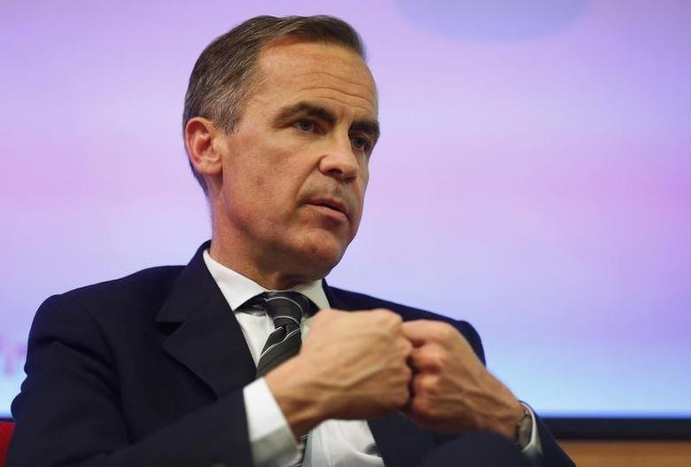 Bank of England Governor Mark Carney speaks to the audience after his public speech on ''One Mission. One Bank. REUTERS/Sang Tan/Pool