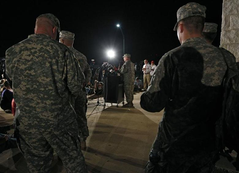 Lt. Gen. Mark Milley addresses the media during a news conference at the entrance to Fort Hood Army Post in Texas April 2, 2014. REUTERS/Erich Schlegel