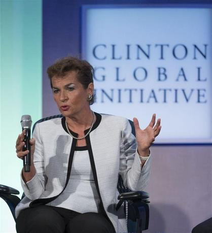 Christiana Figueres, Executive Secretary, United Nations Framework Convention on Climate Change (UNFCCC), takes part in a session labeled ''Vital Resources: Doing More with Less'' at the Clinton Global Initiative 2013 (CGI) in New York September 25, 2013. REUTERS/Carlo Allegri