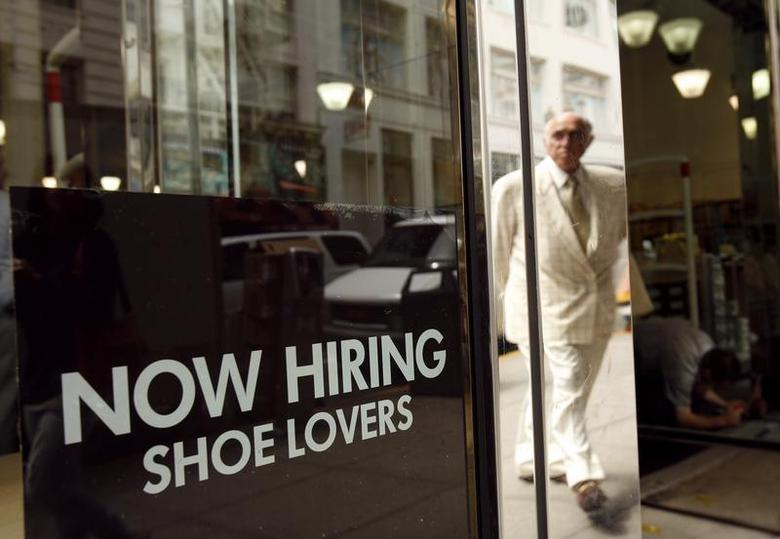 A sign in the window of a retail shoe store advertises for jobs in San Francisco, California June 3, 2010. REUTERS/Robert Galbraith