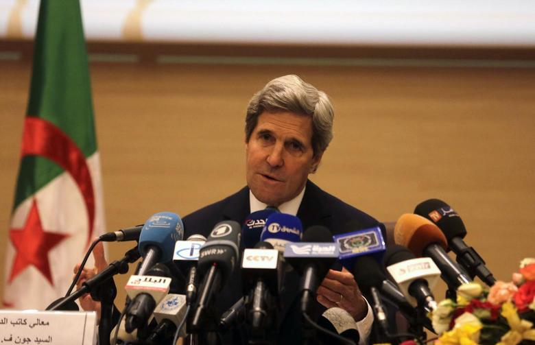 U.S. Secretary of State John Kerry gestures while addressing a news conference at the foreign ministry in Algiers April 3, 2014. REUTERS/Louafi Larbi