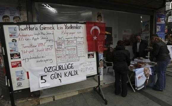 A board shows the alternative ways to access Twitter, is placed at an election campaign office of the main opposition Republican's People's Party (CHP) in Istanbul March 25, 2014. REUTERS/Murad Sezer