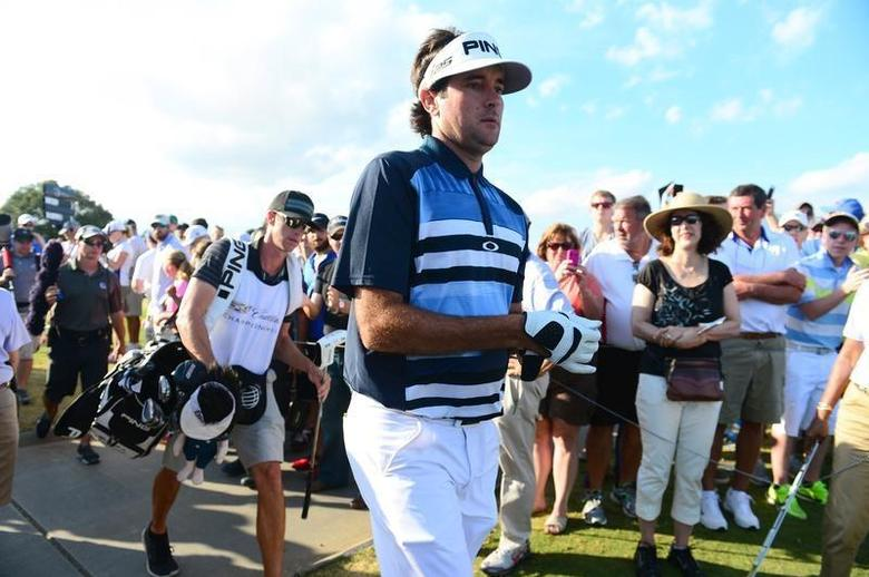Mar 9, 2014; Miami, FL, USA; Bubba Watson walks to the 18th tee during the final round of the WGC - Cadillac Championship golf tournament at TPC Blue Monster at Trump National Doral. Andrew Weber-USA TODAY Sports