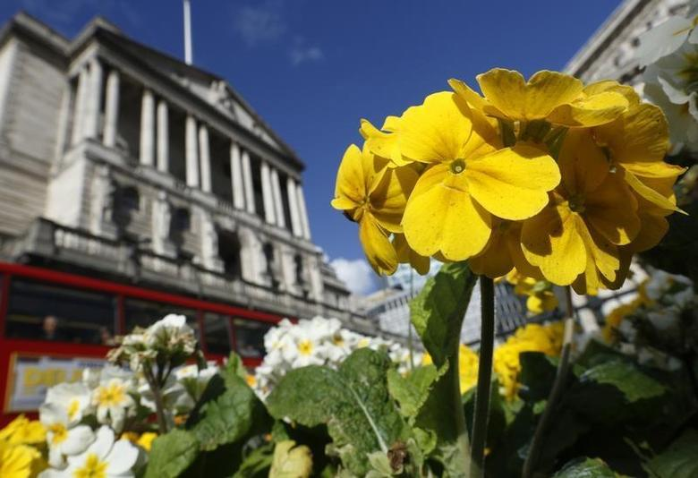 Primulas bloom outside the Bank of England in the City of London March 21, 2014. REUTERS/Luke MacGregor