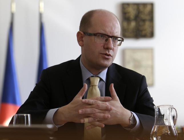 Czech Republic's Prime Minister Bohuslav Sobotka speaks during an interview with Reuters at the government headquarters in Prague March 11, 2014. REUTERS/David W Cerny