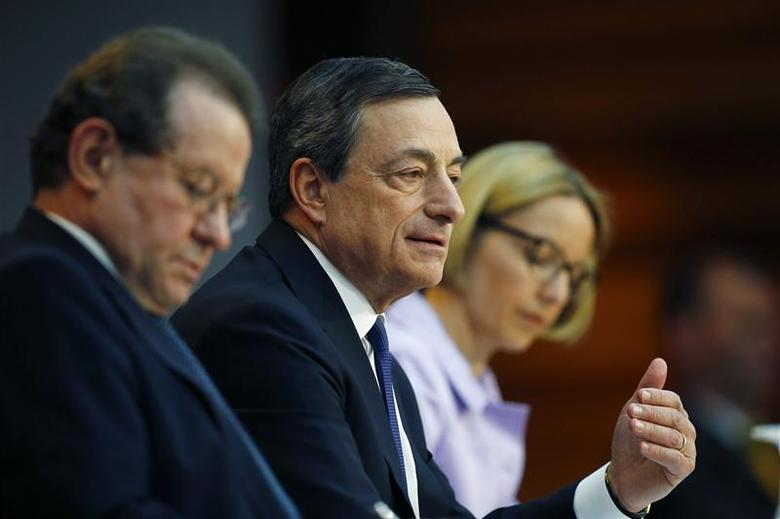 European Central Bank (ECB) President Mario Draghi (R) sitting next to Vice President Vitor Constancio speaks during the monthly ECB news conference in Frankfurt April 3, 2014. REUTERS/Ralph Orlowski