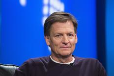 "Author Michael Lewis smiles during an interview at Reuters regarding his book about high-frequency trading (HFT) named ""Flash Boys: A Wall Street Revolt,"" in New York April 3, 2014. REUTERS/Lucas Jackson"