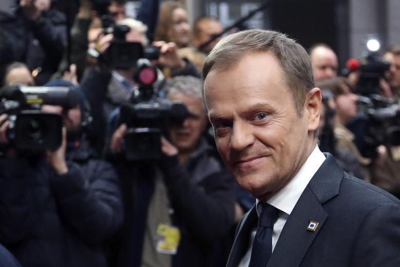Poland's Prime Minister Donald Tusk arrives at a European Union leaders summit in Brussels March 21, 2014. REUTERS/Francois Lenoir
