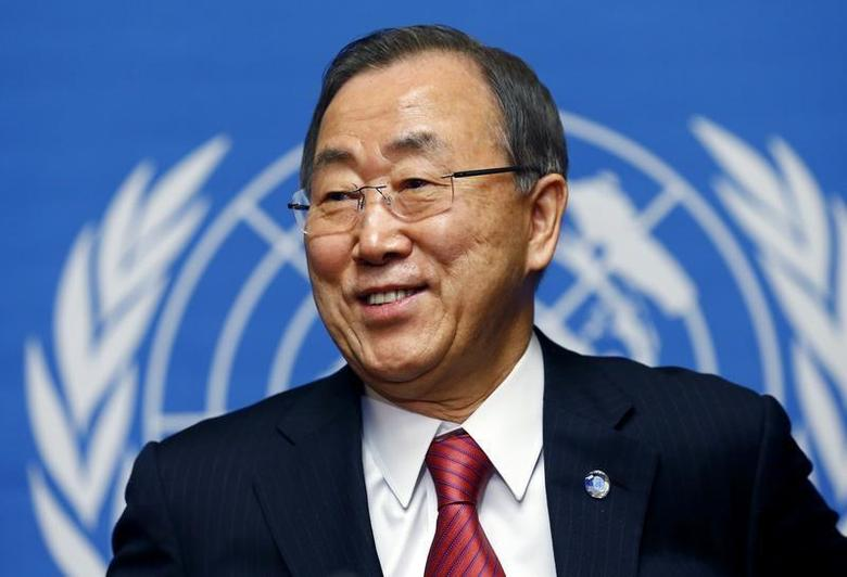 United Nations Secretary General Ban Ki-moon smiles during a news conference at the United Nations in Geneva March 3, 2014. REUTERS/Denis Balibouse