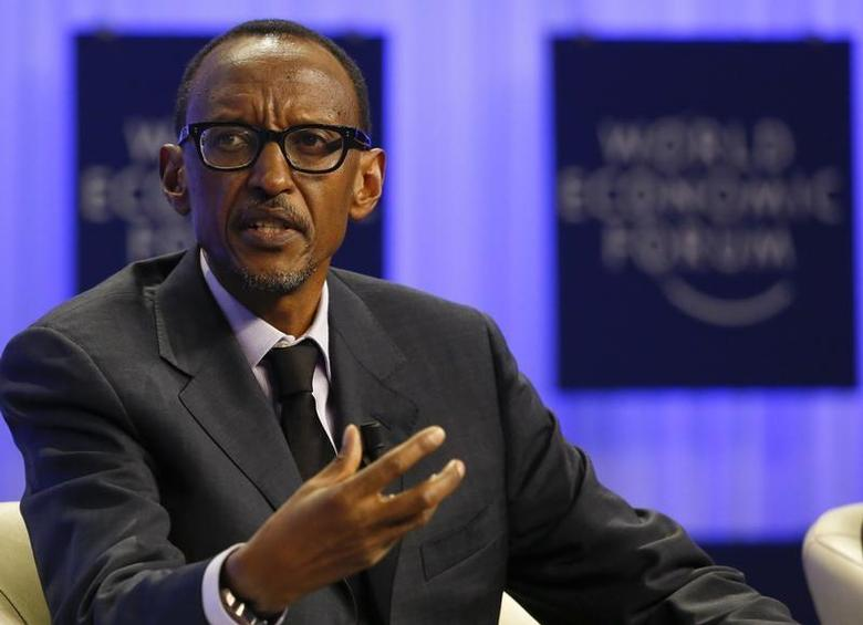 Rwanda President Paul Kagame attends a session at the annual meeting of the World Economic Forum (WEF) in Davos January 24, 2014 file photo. REUTERS/Ruben Sprich