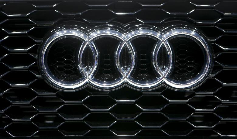 The company logo is seen on the bonnet of a Audi car during the media day ahead of the 84th Geneva Motor Show at the Palexpo Arena in Geneva March 5, 2014. REUTERS/Arnd Wiegmann