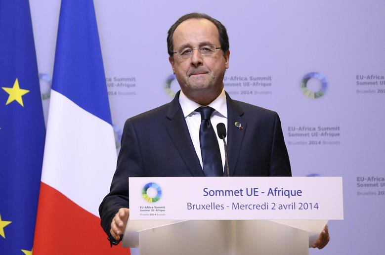 France's President Francois Hollande speaks at a joint news conference with Germany's Chancellor Angela Merkel (not pictured) during a European Union-Africa summit in Brussels April 2, 2014. REUTERS/Francois Lenoir
