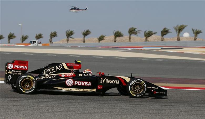 Lotus Formula One driver Pastor Maldonado of Venezuela drives during the third practice session of the Bahrain F1 Grand Prix at the Bahrain International Circuit (BIC) in Sakhir, south of Manama April 5, 2014. REUTERS/Steve Crisp