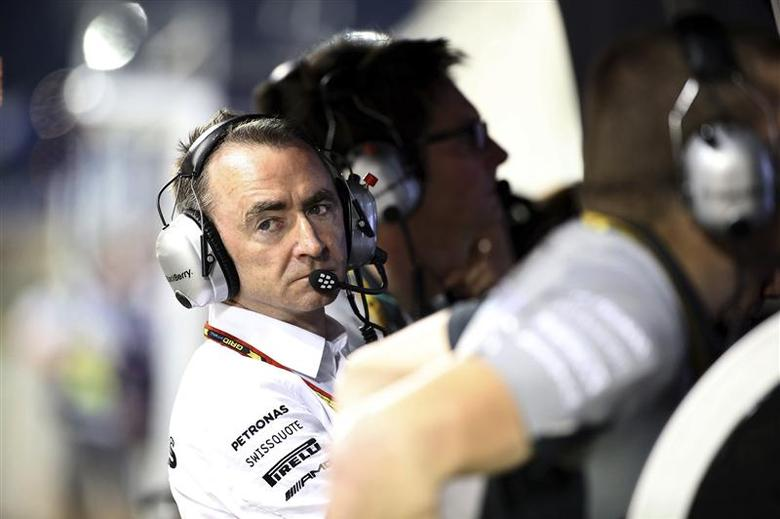 Mercedes Formula One Executive Director (Technical) Paddy Lowe sits at the pit wall during the qualifying session of the Bahrain F1 Grand Prix at the Bahrain International Circuit April 5, 2014. REUTERS/Patrick Baz/Pool