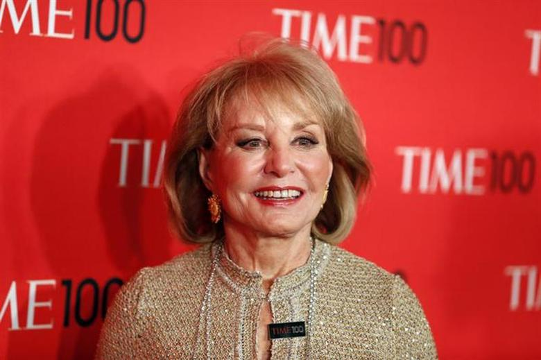Journalist Barbara Walters arrives for the Time 100 gala celebrating the magazine's naming of the 100 most influential people in the world for the past year, in New York, April 23, 2013. REUTERS/Lucas Jackson/Files