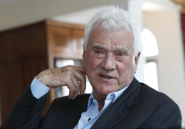 Austro-Canadian businessman and billionaire Frank Stronach gestures during an interview with Reuters in the village of Oberwaltersdorf April 22, 2013. REUTERS/Leonhard Foeger