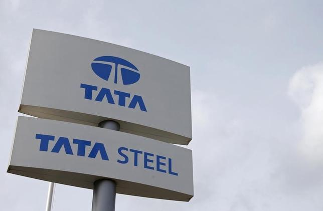 The Tata Steel logo is seen at the Tata Steel rails factory in Hayange, Eastern France, September 25, 2013. REUTERS/Vincent Kessler