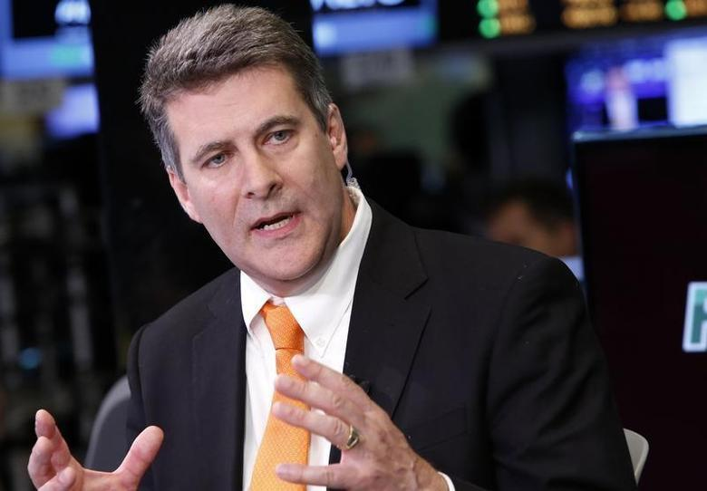 Paul Hooper, CEO of Gigamon, gives an interview on the floor at the New York Stock Exchange, June 12, 2013. REUTERS/Brendan McDermid