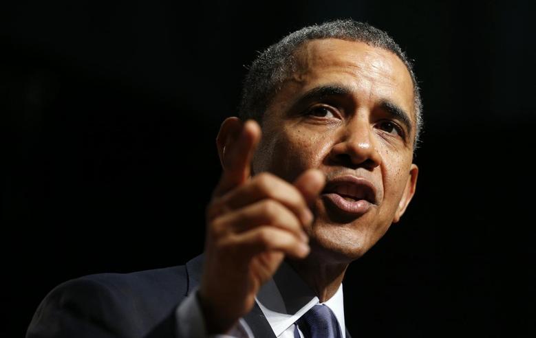 U.S. President Barack Obama speaks during a visit to Bladensburg High School in Bladensburg, Maryland April 7, 2014. REUTERS/Kevin Lamarque