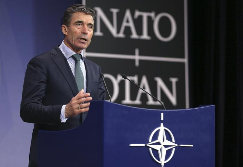 NATO Secretary General Anders Fogh Rasmussen addresses a news conference during a NATO foreign ministers meeting at the Alliance headquarters in Brussels April 1, 2014. REUTERS/Francois Lenoir