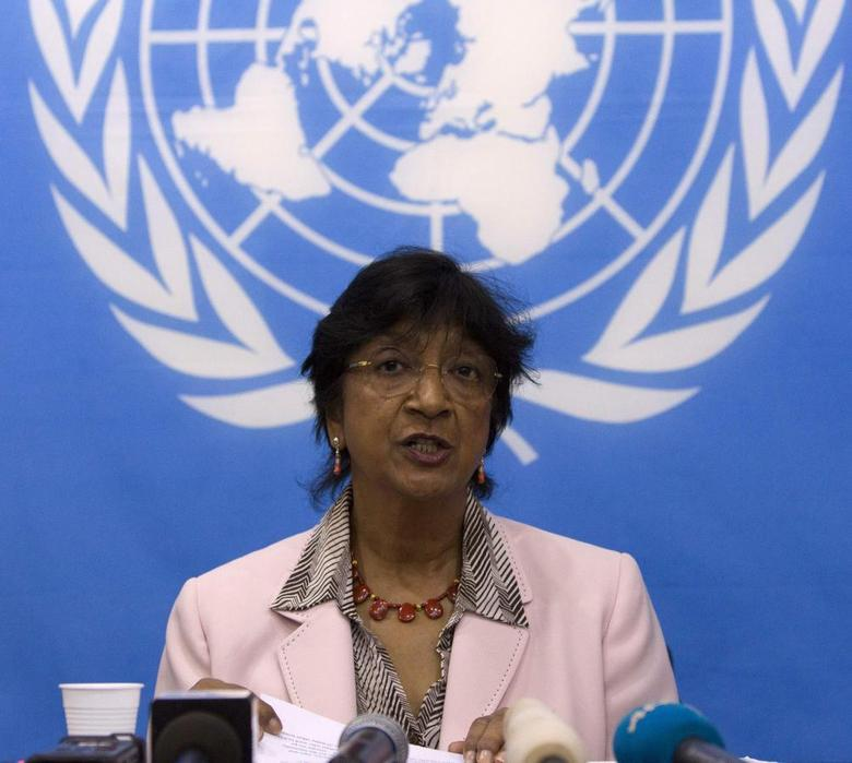 U.N. High Commissioner for Human Rights Navi Pillay addresses a news conference at the U.N. Integrated Peacebuilding Office in the Central African Republic (BINUCA) in Bangui March 20, 2014. REUTERS/Siegfried Modola