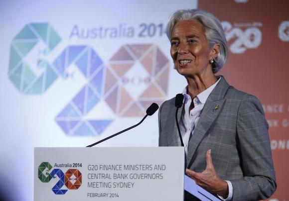 International Monetary Fund (IMF) Managing Director Christine Lagarde speaks at a news conference during the G20 Central Bank Governors and Finance Ministers annual meeting in Sydney, February 23, 2014. REUTERS/Jason Reed