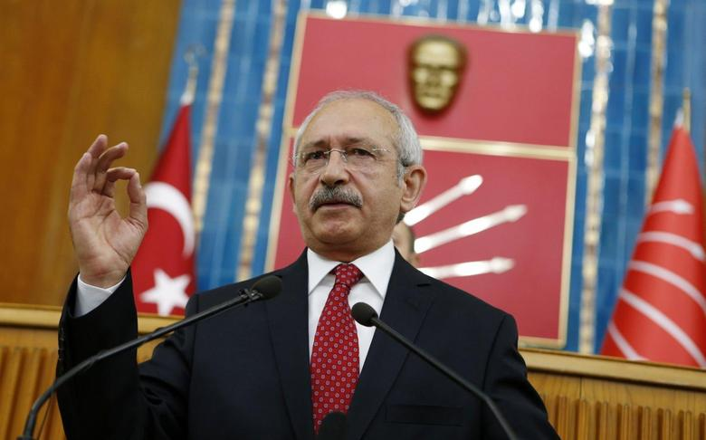 Turkey's main opposition Republican People's Party (CHP) Leader Kemal Kilicdaroglu addresses his party MPs during a meeting at the Turkish parliament in Ankara April 8, 2014. REUTERS/Umit Bektas
