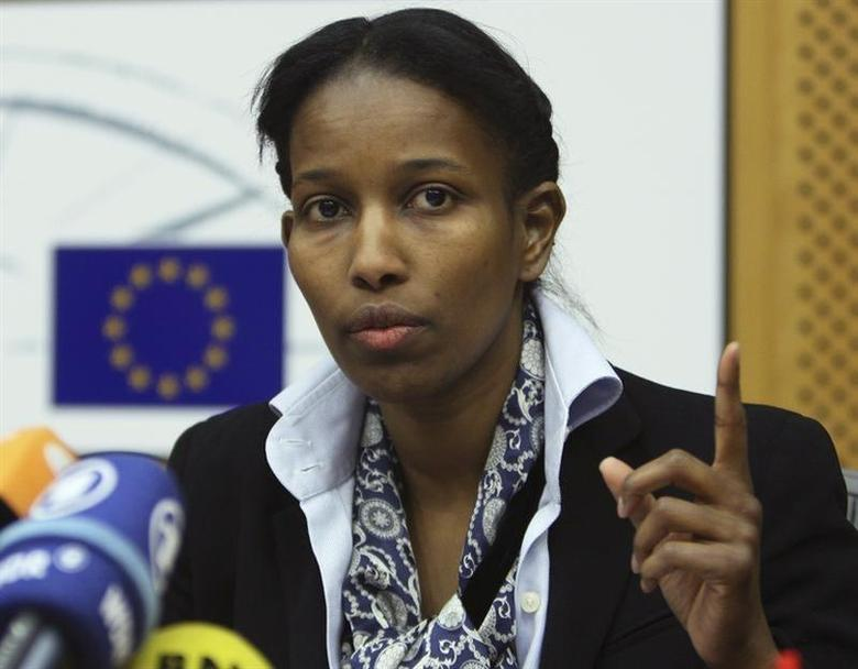 Somali-born Ayaan Hirsi Ali, a former Dutch parliamentarian, gestures as she speaks at the European Parliament in Brussels February 14, 2008. REUTERS/Francois Lenoir