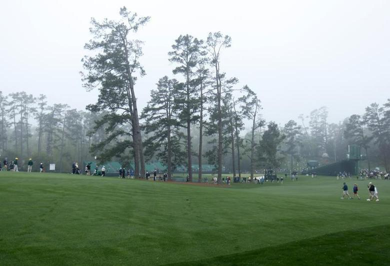 The location on the 17th fairway where the the Eisenhower Tree once stood is now empty after it suffered severe damage in a winter ice storm at the Augusta National Golf Club in Augusta, Georgia April 7, 2014. REUTERS/Mike Blake