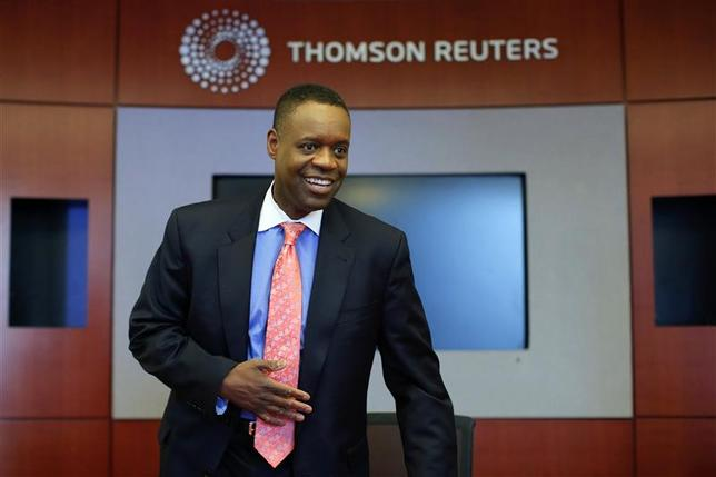 Detroit's emergency manager Kevyn Orr arrives for an interview with Thomson Reuters in New York April 9, 2014. REUTERS/Eduardo Munoz