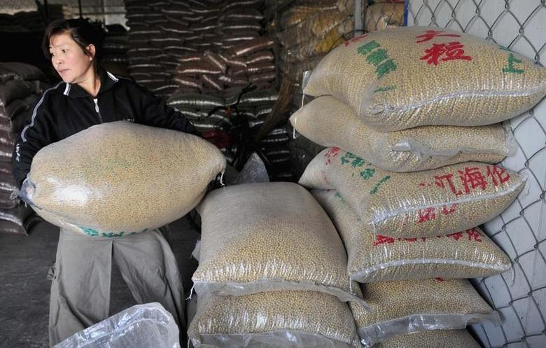 A worker carries a sack of soybeans at a food wholesale market in Shenyang, Liaoning province January 13, 2011. REUTERS/Sheng Li