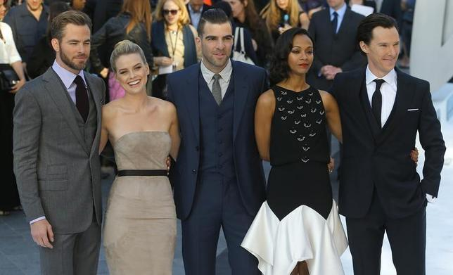 Cast members of ''Star Trek Into Darkness'', (L-R) Chris Pine, Alice Eve, Zachary Quinto, Zoe Saldana and Benedict Cumberbatch pose for photographers at the film's international premiere in Leicester Square, central London May 2, 2013. REUTERS/Andrew Winning