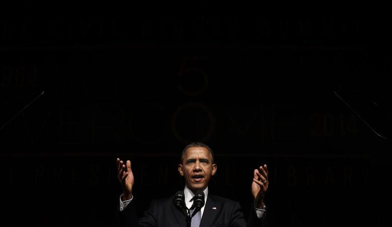 U.S. President Barack Obama speaks at a Civil Rights Summit to commemorate the 50th anniversary of the signing of the Civil Rights Act at the LBJ Presidential Library in Austin, Texas April 10, 2014. REUTERS/Kevin Lamarque
