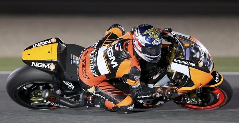NGM Mobile Forward Racing MotoGP rider Colin Edwards of the U.S. races during a free practice session at the MotoGP World Championship at the Losail International circuit in Doha March 21, 2014. REUTERS/Fadi Al-Assaad