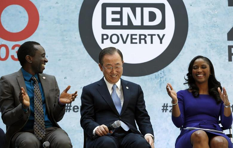 UN Secretary General Ban Ki-moon (C) sits with youth advocate and former refugee from Sierra Leone Chernor Bah (L) and CNN anchor and correspondent Isha Sesay (R) at a program for ''EndPoverty 2030'' in Washington April 10, 2014. REUTERS/Gary Cameron