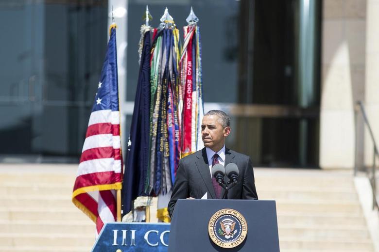 U.S. President Barack Obama speaks at a memorial service in Fort Hood in Killeen, Texas April 9, 2014. REUTERS/Julia Robinson