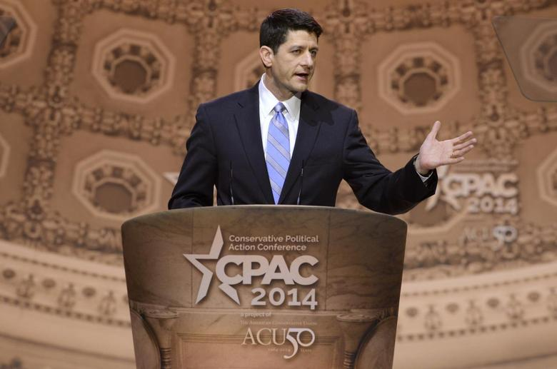 U.S. Rep. Paul Ryan (R-WI) makes remarks to the Conservative Political Action Conference (CPAC) in Oxon Hill, Maryland, March 6, 2014. REUTERS/Mike Theiler