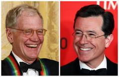 """A combination photo shows """"Late Show"""" host David Letterman (L) during a ceremony at the White House in Washington on December 2, 2012 and Comedian Stephen Colbert (R) at the Time 100 Gala in New York on April 24, 2012. REUTERS/Jason Reed/Files (L) and Lucas Jackson/Files (R)"""