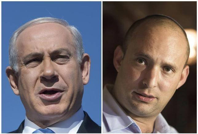 A combination photo shows Israel's Prime Minister Benjamin Netanyahu in Jerusalem on January 21, 2013 and Naftali Bennett (R), leader of the Bayit Yehudi party, in Tel Aviv January 20, 2013. REUTERS/Baz Ratner (L) and Nir Elias/Files