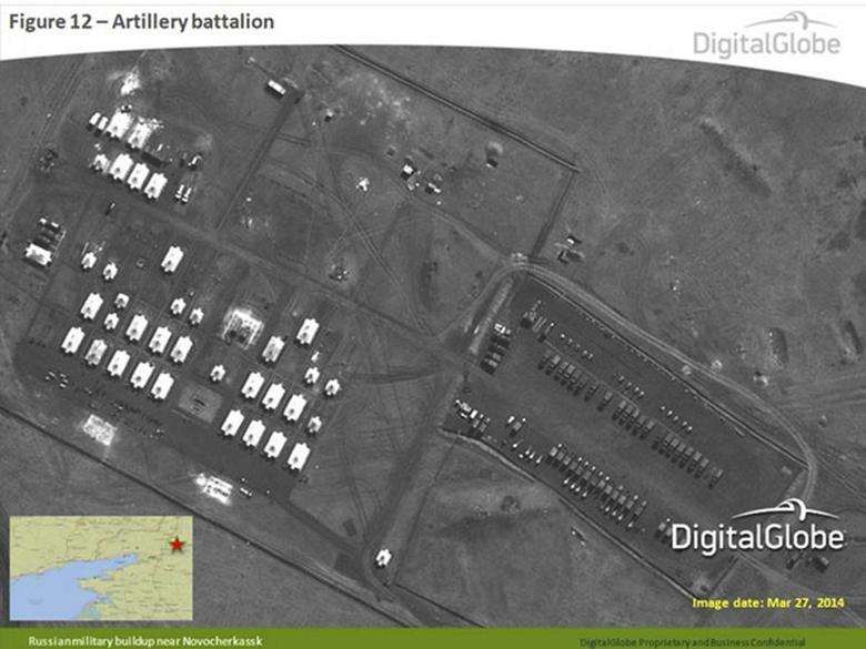 A satellite image provided to Reuters by Supreme Headquarters Allied Powers Europe (SHAPE) on April 10, 2014 and taken by DigitalGlobe on March 27, 2014 shows what is reported by SHAPE to be a Russian artillery battalion in Novocherkassk, southern Russia. REUTERS/DigitalGlobe via SHAPE/Handout via Reuters