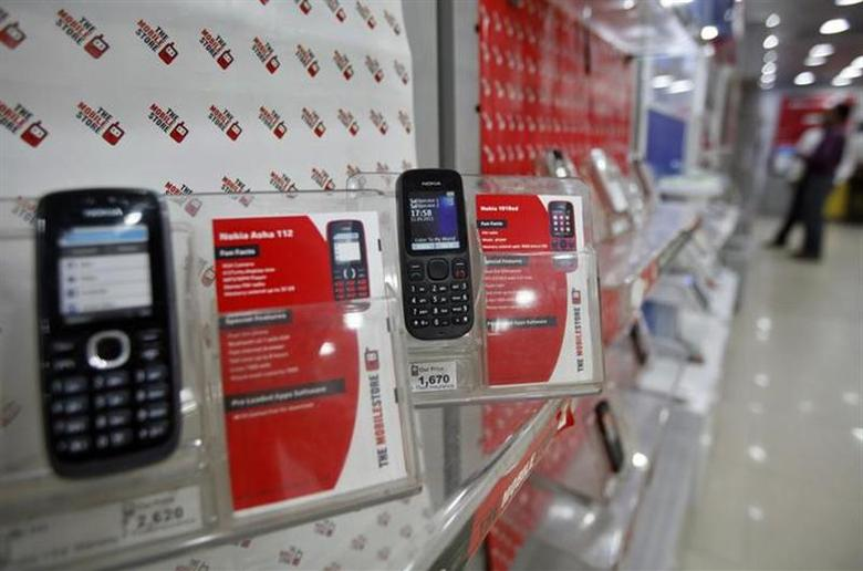 Low-cost mobile handsets from Nokia on display at a store in hmedabad March 4, 2013. REUTERS/Amit Dave/Files