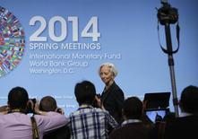 Christine Lagarde, diretora-geral do FMI, antes de iniciar coletiva durante reunião anual da entidade, em Washington. 10/04/2014 REUTERS/Gary Cameron