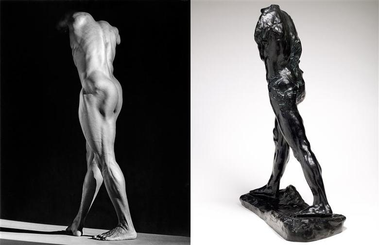 Robert Mapplethorpe, Michael Reed, 1987(L) and Auguste Rodin, The Walking Man, bronze, 1907. (REUTERS/Musee Rodin)