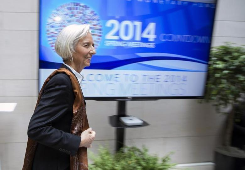 IMF Managing Director Christine Lagarde arrives for a G20 ministerial meeting, during the IMF/World Bank 2014 Spring Meetings in Washington April 11, 2014. REUTERS/Joshua Roberts