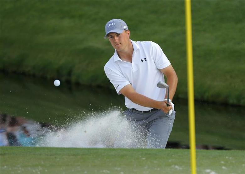 U.S. golfer Jordan Spieth hits from the sand on the 16th hole during the second round of the Masters golf tournament at the Augusta National Golf Club in Augusta, Georgia April 11, 2014. REUTERS/Brian Snyder