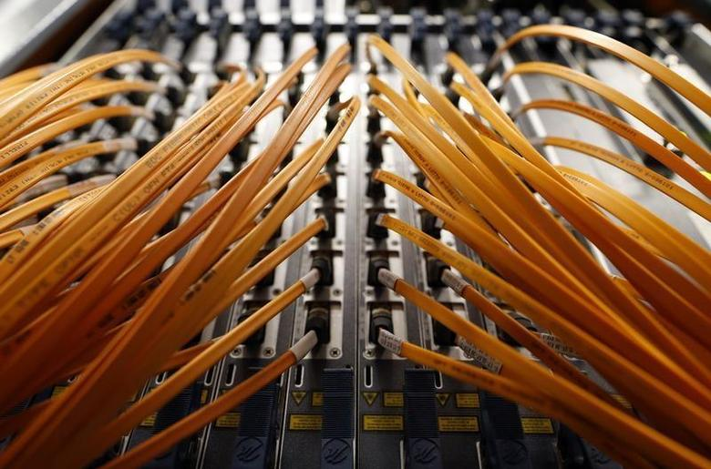 Cables of optical fibre of Telecom Italia are seen in a telephone exchange in Rome, December 20, 2013. REUTERS/Alessandro Bianchi