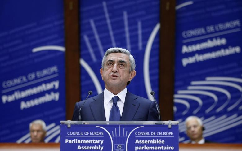 Armenian President Serzh Sargsyan addresses the Parliamentary Assembly of the Council of Europe in Strasbourg, October 2, 2013. REUTERS/Vincent Kessler